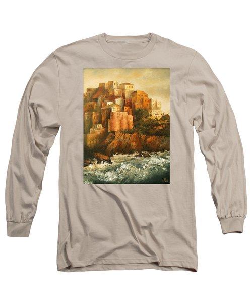 Cinque Terre Lerici Italia Painting Long Sleeve T-Shirt by Vali Irina Ciobanu