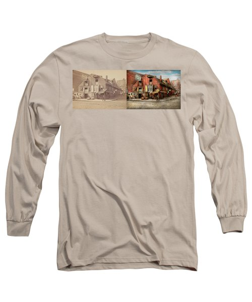 Long Sleeve T-Shirt featuring the photograph City - Pa - Fish And Provisions 1898 - Side By Side by Mike Savad