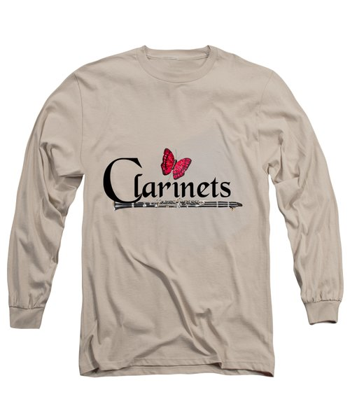 Clarinets And Butterfly Long Sleeve T-Shirt by M K  Miller