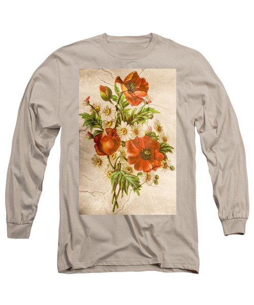 Classic Vintage Shabby Chic Rustic Poppy Bouquet Long Sleeve T-Shirt