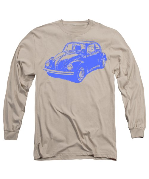 Classic Vw Beetle Tee Blue Ink Long Sleeve T-Shirt by Edward Fielding