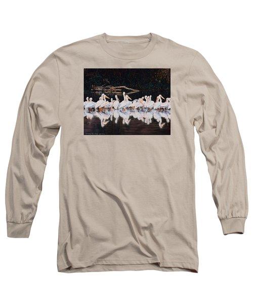 Clear Lake Pelicans Long Sleeve T-Shirt by Linda Becker