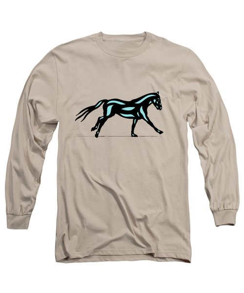 Clementine - Pop Art Horse - Black, Island Paradise Blue, Primrose Yellow Long Sleeve T-Shirt
