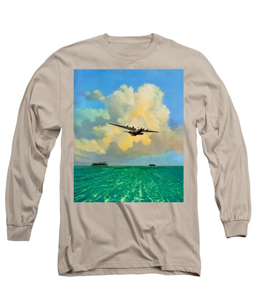 Long Sleeve T-Shirt featuring the painting Clipper Over The Islands by David  Van Hulst