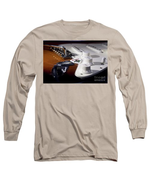 Long Sleeve T-Shirt featuring the photograph Close Up Guitar by MGL Meiklejohn Graphics Licensing