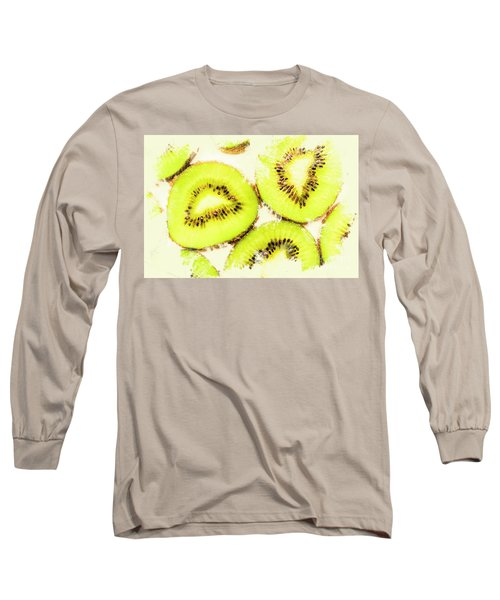 Close Up Of Kiwi Slices Long Sleeve T-Shirt by Jorgo Photography - Wall Art Gallery