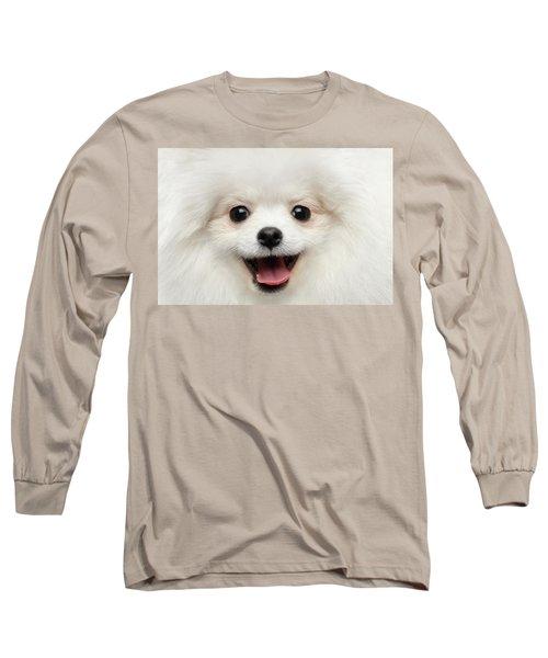 Closeup Furry Happiness White Pomeranian Spitz Dog Curious Smiling Long Sleeve T-Shirt