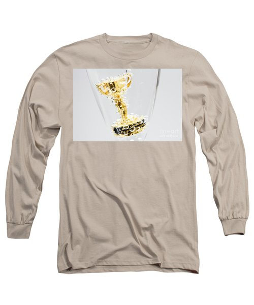 Closeup Of Small Trophy In Champagne Flute. Gold Colored Award I Long Sleeve T-Shirt