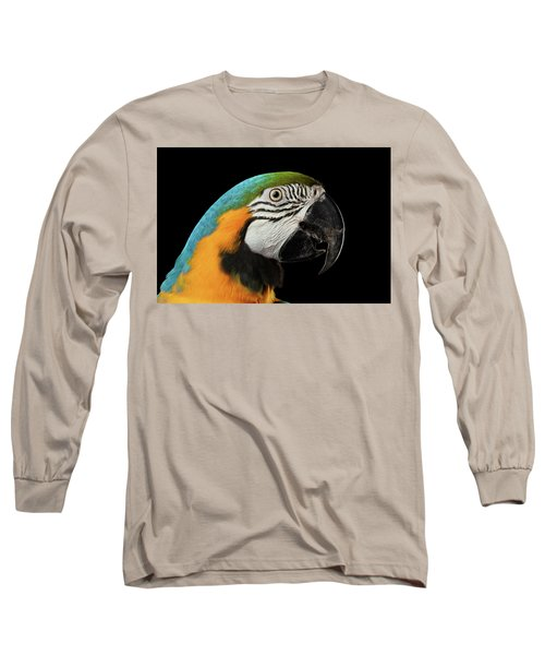 Closeup Portrait Of A Blue And Yellow Macaw Parrot Face Isolated On Black Background Long Sleeve T-Shirt by Sergey Taran