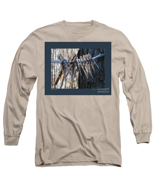 Clothespins Long Sleeve T-Shirt by Patricia Overmoyer