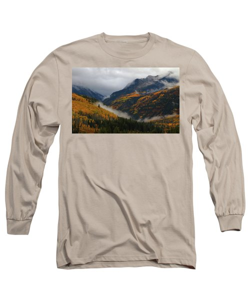 Clouds And Fog Encompass Autumn At Mcclure Pass In Colorado Long Sleeve T-Shirt by Jetson Nguyen