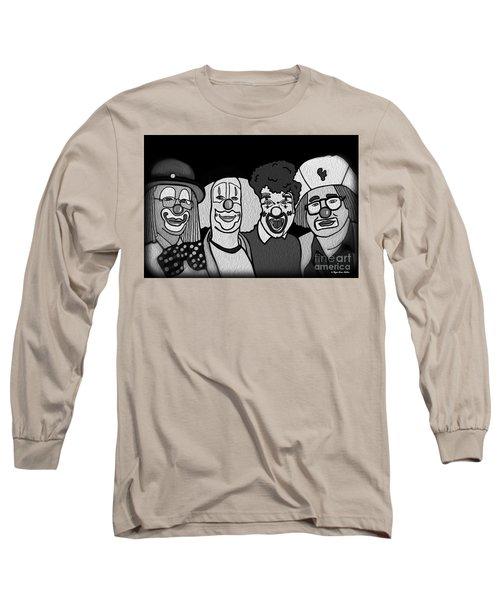 Clowns Bw Long Sleeve T-Shirt by Megan Dirsa-DuBois