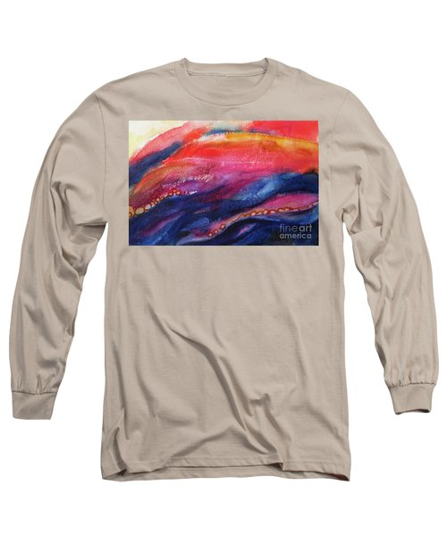 Long Sleeve T-Shirt featuring the painting Coatings And Deposits Of Color by Kathy Braud