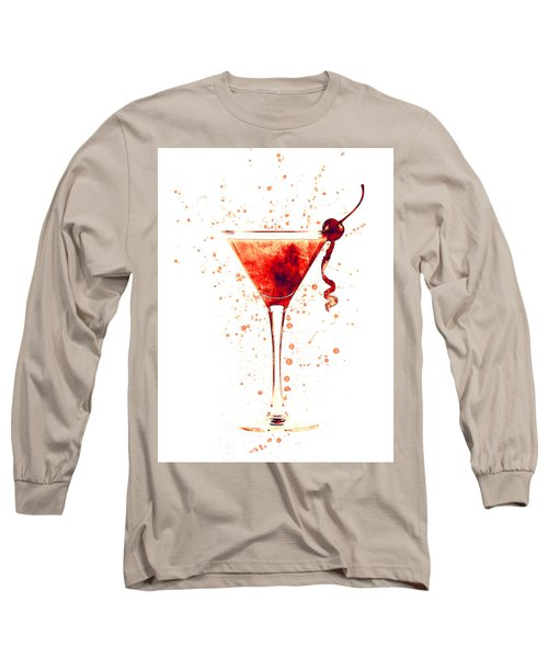 Cocktail Drinks Glass Watercolor Red Long Sleeve T-Shirt