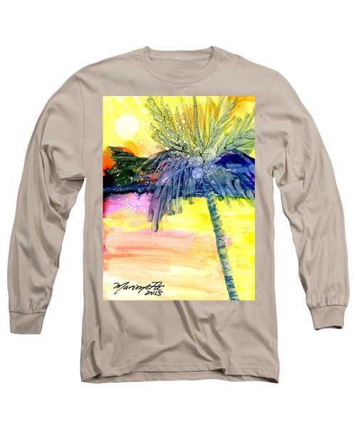 Long Sleeve T-Shirt featuring the painting Coconut Palm Tree 3 by Marionette Taboniar