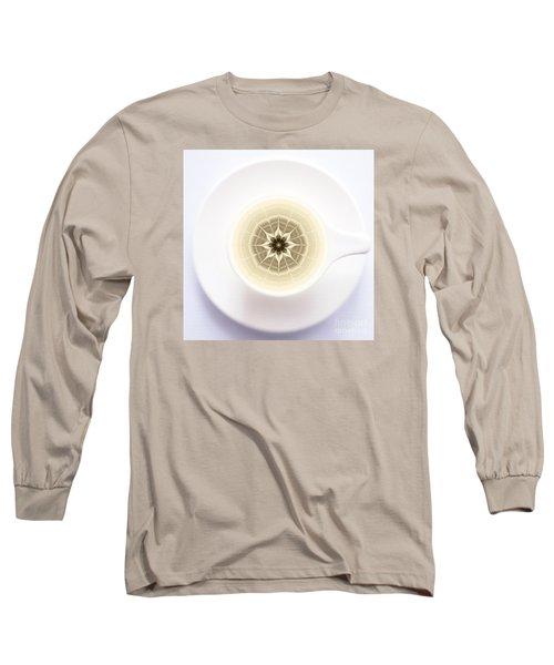 Long Sleeve T-Shirt featuring the digital art Coffe Foam Mandala by Klara Acel