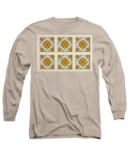 Coffered Ceiling Detail At Getty Villa Long Sleeve T-Shirt