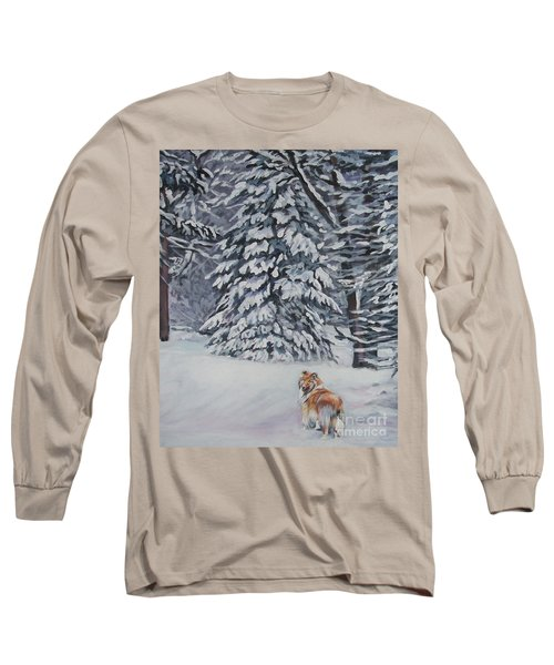 Collie Sable Christmas Tree Long Sleeve T-Shirt by Lee Ann Shepard