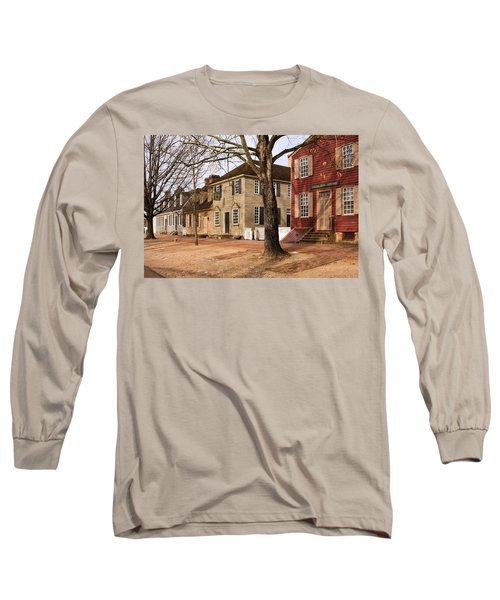 Colonial Street Scene Long Sleeve T-Shirt by Sally Weigand