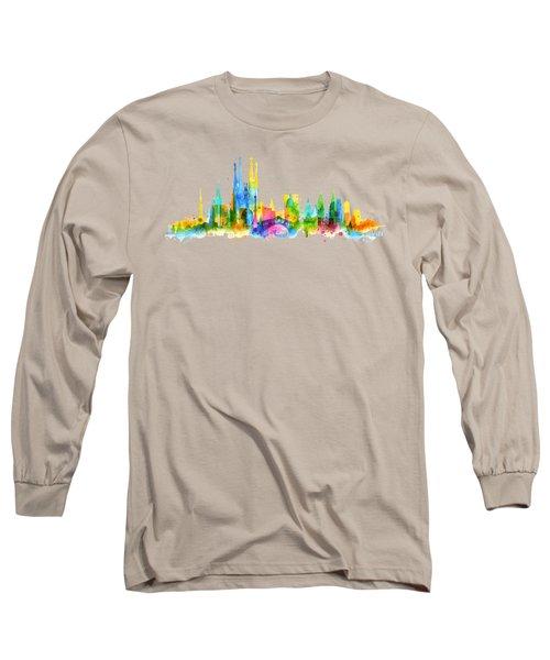 Color Barcelona Skyline 01 Long Sleeve T-Shirt by Aloke Creative Store