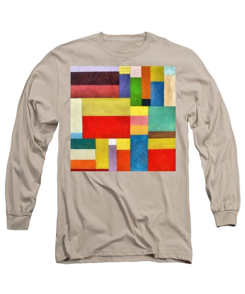 Color Panel Abstract With White Buttons Long Sleeve T-Shirt