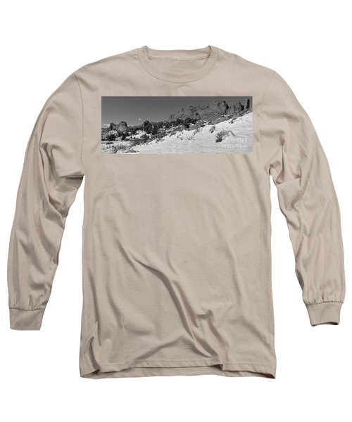 Long Sleeve T-Shirt featuring the photograph Colorado Winter Rock Garden Black And White by Adam Jewell