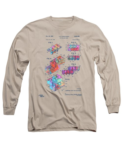 Colorful 1961 Toy Building Brick Patent Art Long Sleeve T-Shirt