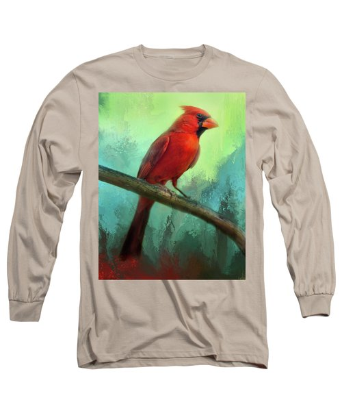 Colorful Cardinal Long Sleeve T-Shirt by Barbara Manis