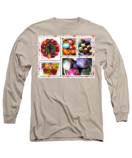 Long Sleeve T-Shirt featuring the photograph Colorful Easter Eggs Collage 07 by Ausra Huntington nee Paulauskaite