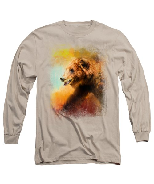 Colorful Expressions Grizzly Bear Long Sleeve T-Shirt by Jai Johnson