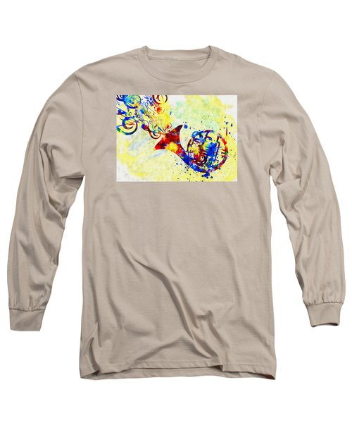 Colorful French Horn Long Sleeve T-Shirt by Olga Hamilton