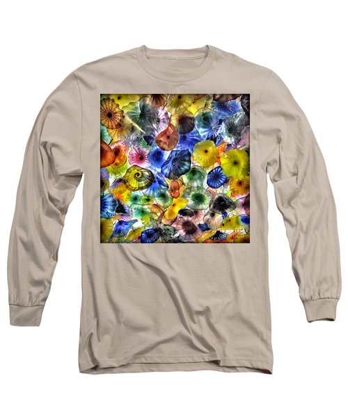 Colorful Glass Ceiling In Bellagio Lobby Long Sleeve T-Shirt by Walt Foegelle