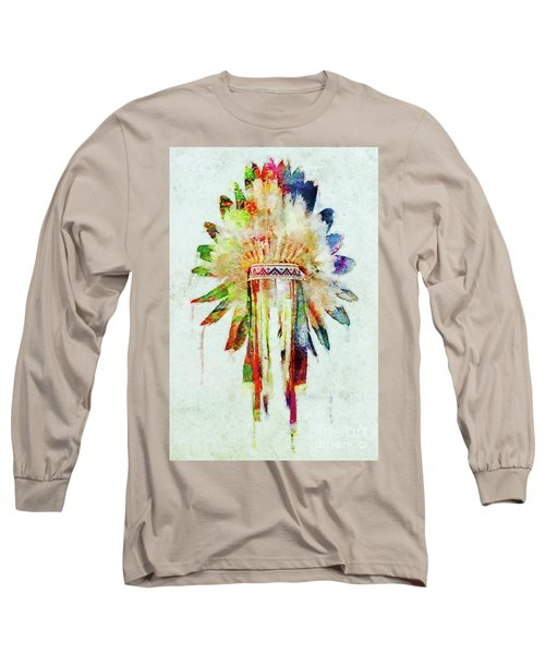 Colorful Lakota Sioux Headdress Long Sleeve T-Shirt
