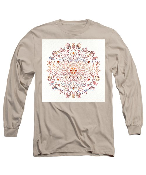 Colorful Mandala On Watercolor Paper Long Sleeve T-Shirt by Patricia Lintner