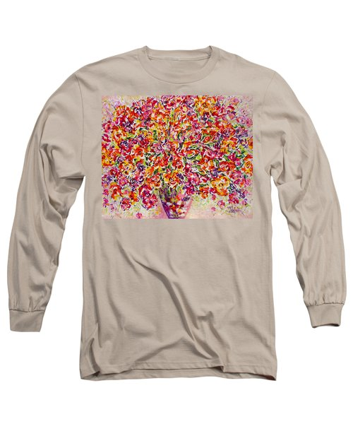 Long Sleeve T-Shirt featuring the painting Colorful Organza by Natalie Holland