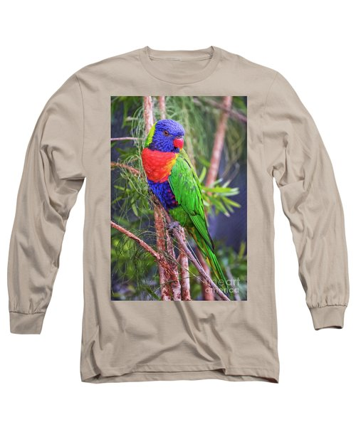 Colorful Parakeet Long Sleeve T-Shirt by Stephanie Hayes