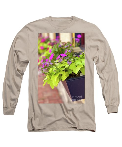 Colorful Summer Flowers In Window Box Long Sleeve T-Shirt