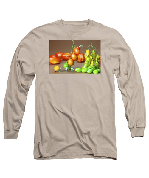 Long Sleeve T-Shirt featuring the photograph Colorful Tomato Harvest Little People On Food by Paul Ge