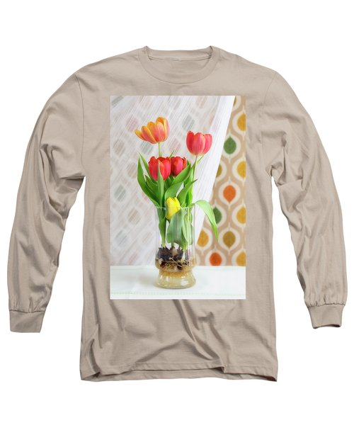 Colorful Tulips And Bulbs In Glass Vase Long Sleeve T-Shirt
