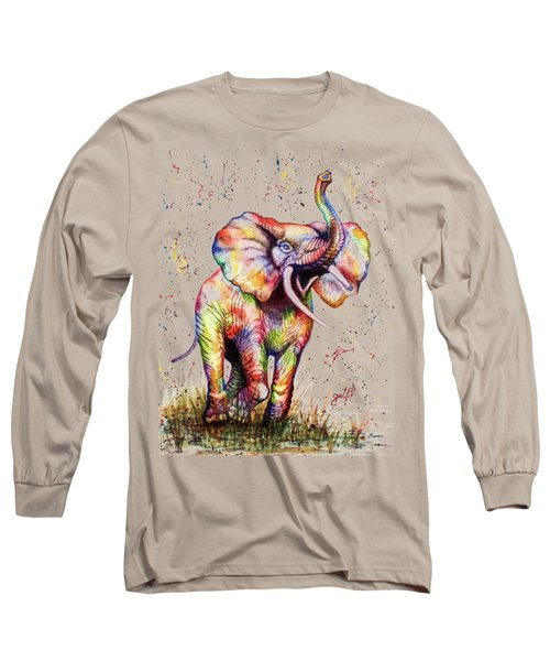 Colorful Watercolor Elephant Long Sleeve T-Shirt by Georgeta Blanaru