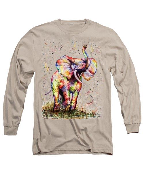 Colorful Watercolor Elephant Long Sleeve T-Shirt