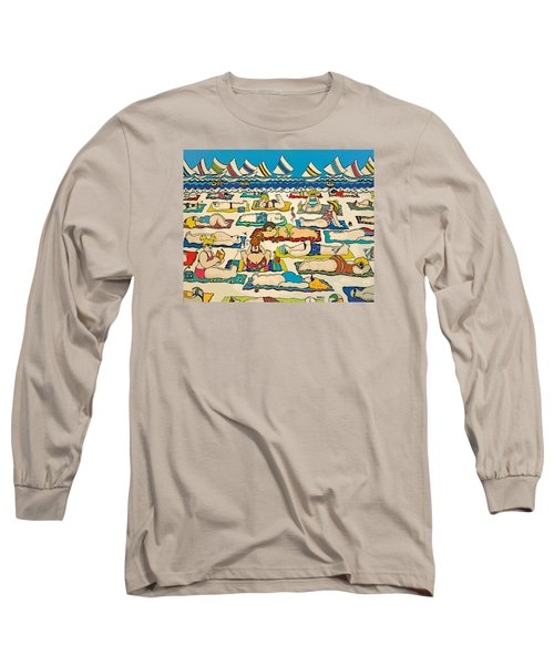 Colorful Whimsical Beach Seashore Women Men Long Sleeve T-Shirt by Rebecca Korpita