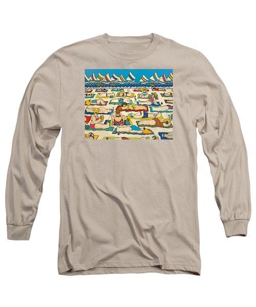 Colorful Whimsical Beach Seashore Women Men Long Sleeve T-Shirt