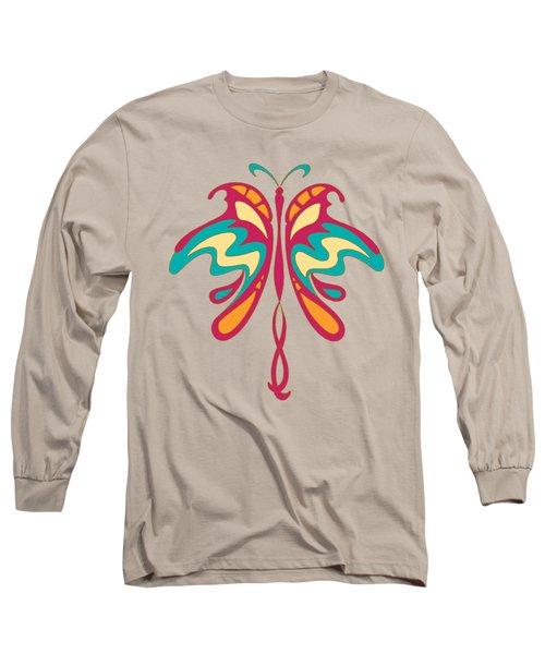 Colourful Art Nouveau Butterfly Long Sleeve T-Shirt