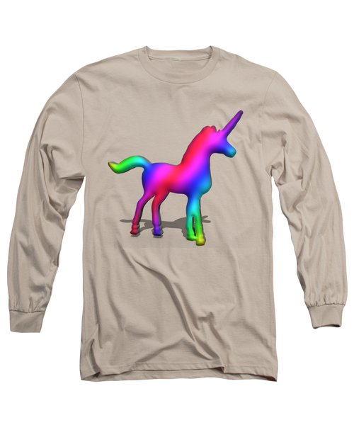 Colourful Unicorn In 3d Long Sleeve T-Shirt