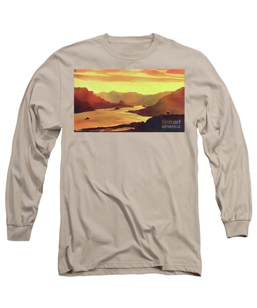 Long Sleeve T-Shirt featuring the painting Columbia Gorge Scenery by Ryan Fox