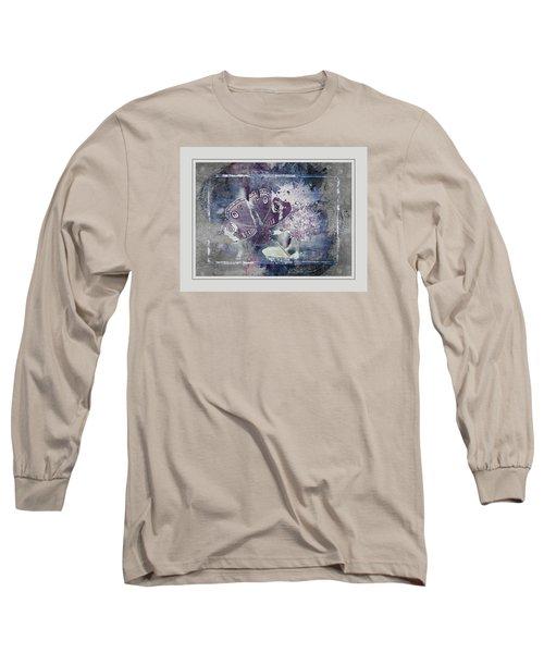 Common Buckeye In Blues Long Sleeve T-Shirt by Karen McKenzie McAdoo
