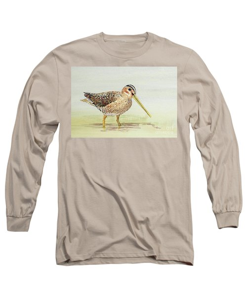 Long Sleeve T-Shirt featuring the painting Common Snipe Wading by Thom Glace