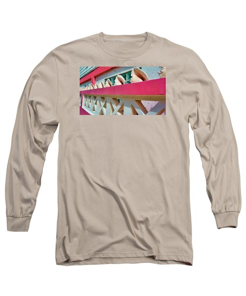 Conch Shells On A Pink Wall - Ambergris Caye, Belize Long Sleeve T-Shirt