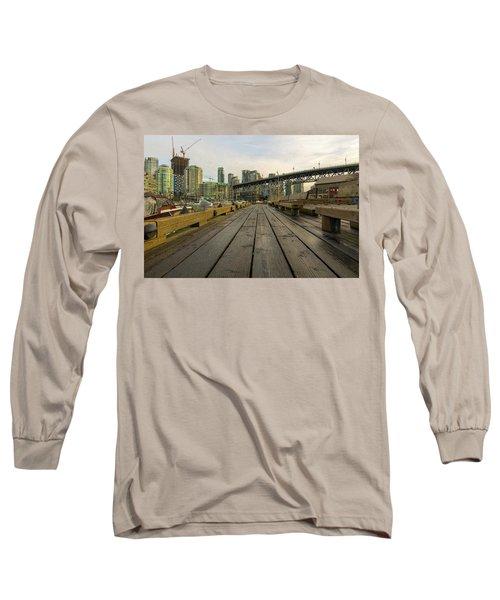 Condominium Buildings Along Granville Island Vancouver Bc Long Sleeve T-Shirt